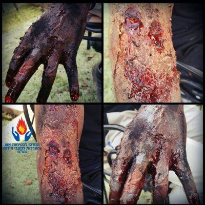 איפור פצועים בתרגילי חירום בבטיחות אש